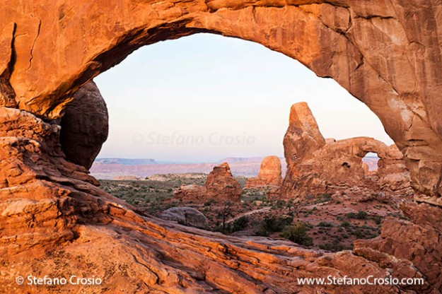 Windows Arch and Turret Arch at twilight