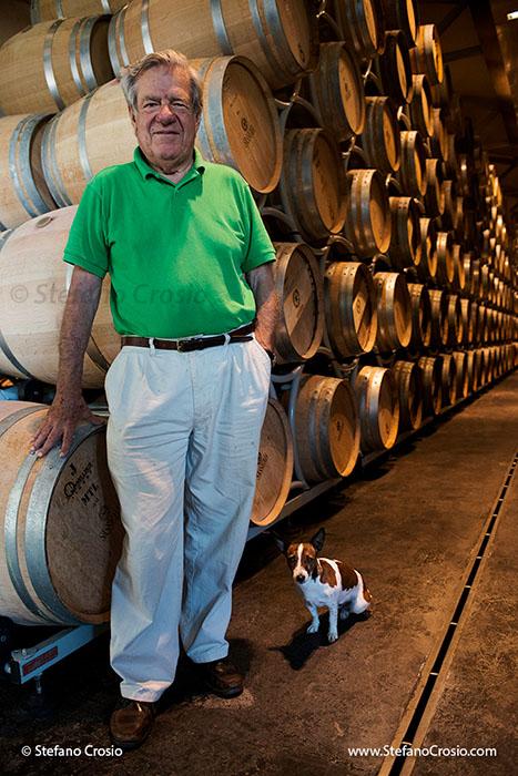 Italy, Bolgheri: Marchese Nicolo' Incisa della Rocchetta in the Tenuta San Guido wine aging cellar