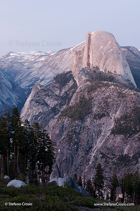 Half Dome and Yosemite Valley at twilight