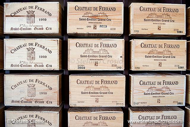 The wine case storage area at Chateau de Ferrand (Grand Cru Classé)