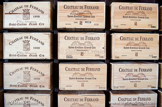 The wine case storage area at Chateau de Ferrand (Grand Cru Classé)