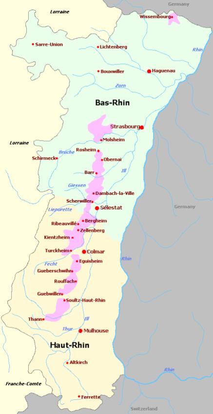 Alsace AOC Map